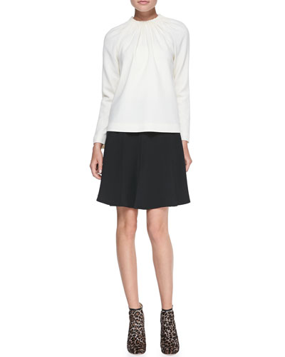 Elle Sasson Star Gathered-Neck Knit Top & Anita Pleated Crepe Flare Skirt
