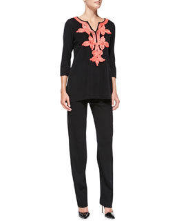 Misook 3/4-Sleeve Embroidered Tunic & Straight-Leg Jersey Pants