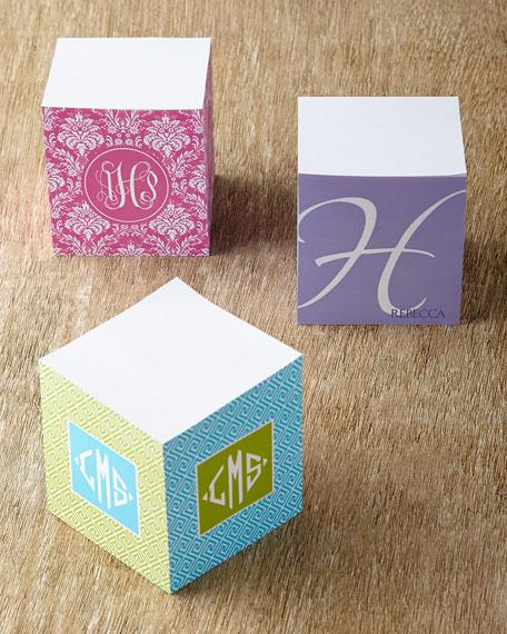 Pink Damask Memo Cube