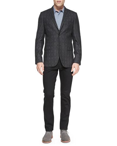 Theory Shadow-Plaid Jacket, Basketweave-Print Covered Placket Shirt & Slim Denim Jeans