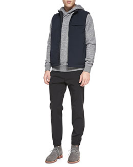 Theory Reversible Tech Vest, Cotton Pullover Hoodie & Nylon Drawstring Pants
