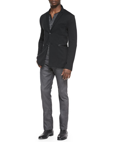 Two-Button Knit Jacket, Raw-Edge Melange Henley & Coated Bowery Slim-Fit Denim Jeans