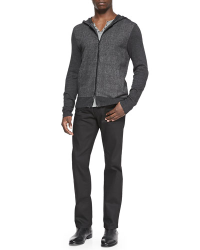 Woven Zip-Front Hoodie, Long-Sleeve Split-Neck Henley & Coated Bowery Slim-Straight Jeans
