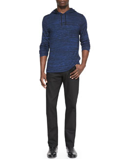 John Varvatos Star USA Space-Dyed Knit Pullover Hoodie & Coated Bowery Slim-Straight Jeans