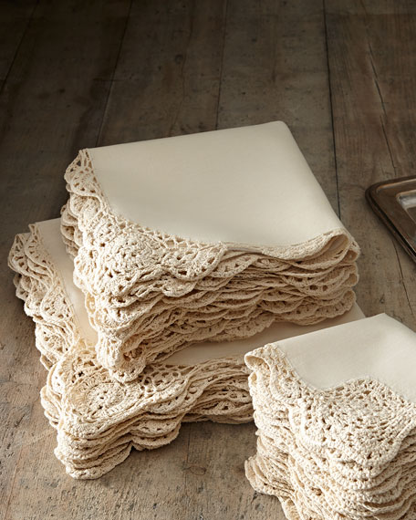 12 Ivory Crochet-Edge Dinner Napkins