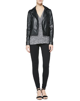 Joie Davey Lambskin Leather Jacket, Kally Printed Georgette Top & Keena Ponte Leggings