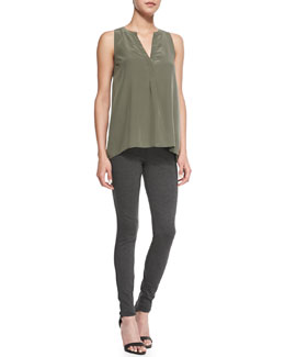 Joie Aruna Sleeveless Silk Tank & Keena Knit Pull-On Leggings