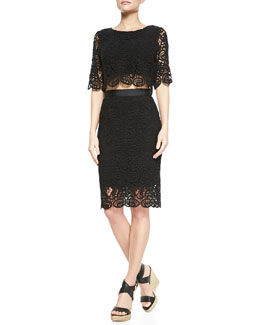Miguelina Lou Swirly-Lace Crop Top & Scarlett Swirly-Lace Pencil Skirt