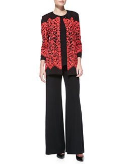 Misook Lace-Print Long Jacket, Sleeveless Long Tank & Boot-Cut Knit Pants, Women's