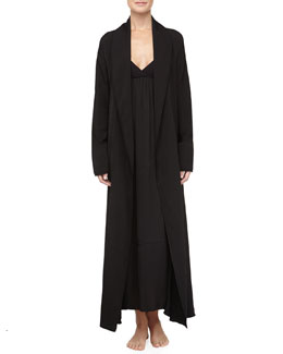 Donna Karan Tissue Crepe Long Robe & Gown, Black