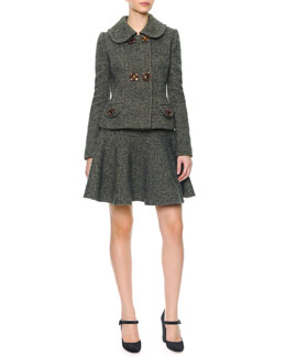 Dolce & Gabbana Double Jewel Button Herringbone Jacket & Herringbone Wool Flirty Skirt