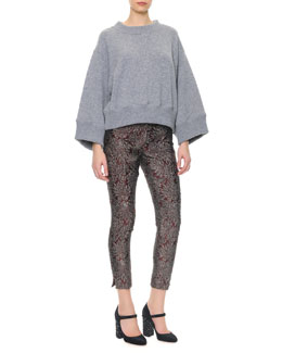 Dolce & Gabbana Wide-Band Detail Cashmere Sweater & Slim Metallic Jacquard Pants