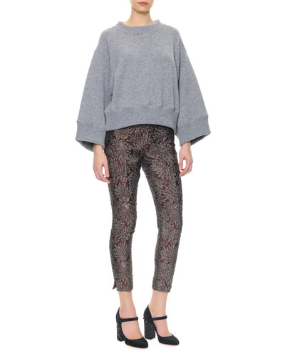 Wide-Band Detail Cashmere Sweater & Slim Metallic Jacquard Pants