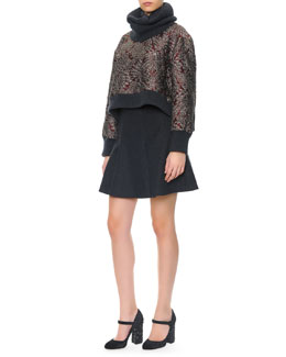 Dolce & Gabbana Cashmere-Trim Brocade Crewneck Top, Ribbed Cashmere Collar & Cashmere-Wool Flirty Skirt