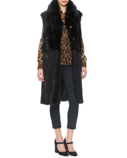 Dolce & Gabbana Long Shearling Vest with Crystal Buttons, Leopard Print Tie-Neck Silk Blouse & Side Zip Crepe Pants
