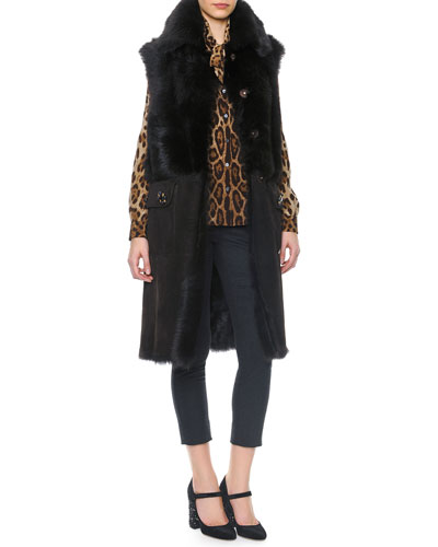 Long Shearling Vest with Buttons, Leopard Print Tie-Neck Silk Blouse & Side Zip Crepe Pants
