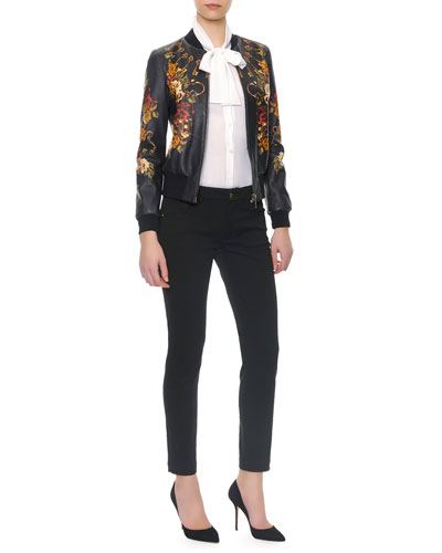 Floral/Key Print Baseball Leather Jacket/Long-Sleeve Silk Tie-Neck Blouse & Denim Jeans With Riveted Pockets