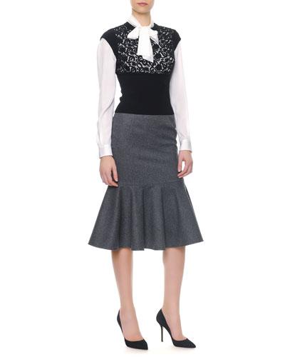 Cap-Sleeve Macramé Panel Knit Top/Long-Sleeve Silk Tie-Neck Blouse & Stretch Wool Long Flounce Skirt