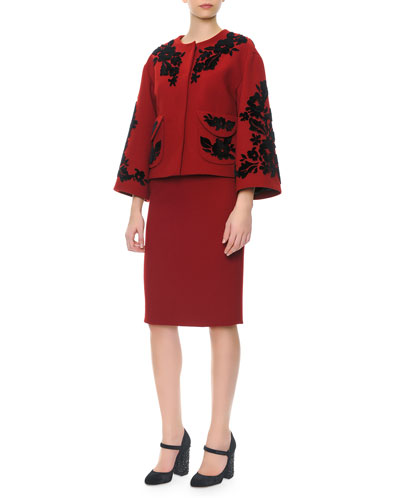 Bracelet-Sleeve Velvet Appliqué Jacket & Short-Sleeve Scoop-Neck Sheath Dress
