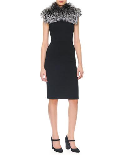 Sleeveless Wool Crepe Sheath Dress & Silver Fox Collar