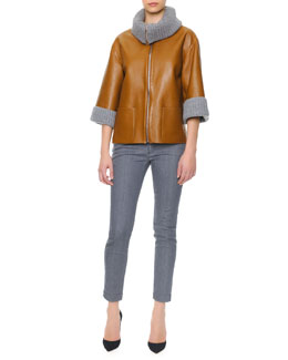 Dolce & Gabbana Ribbed Cashmere Collar & Cuff Leather Jacket, 3/4-Sleeve Ribbed Cashmere Sweater & Skinny Ankle Jeans