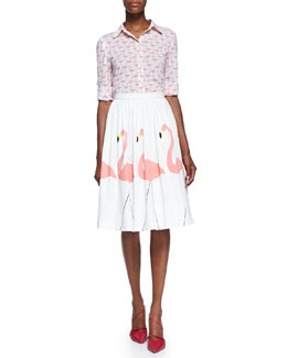 Alice + Olivia Willa Flamingo-Print Blouse & Hale Middie Flamingo-Print Skirt