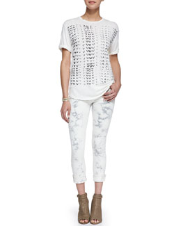 Current/Elliott Crewneck Rolled-Sleeve Print Tee & Jay Super Chic Skinny Ankle Jeans