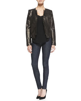 J Brand Ready to Wear Crocodile-Embossed Metallic Leather Jacket, Nadja V-Neck Shirttail Cami Tank & Jess High-Rise Skinny Jeans