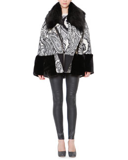Just Cavalli Jacquard Rabbit Fur-Trim Jacket, Wool-Blend Paisley Jacquard Sweater & Waxed-Front Denim Jeans