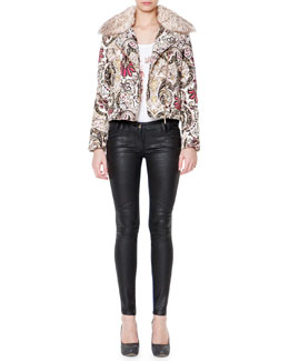 Just Cavalli Fur Collar Scroll-Print Puffer Coat, 3/4-Sleeve Scroll-Print T-Shirt & Waxed-Front Denim Jeans