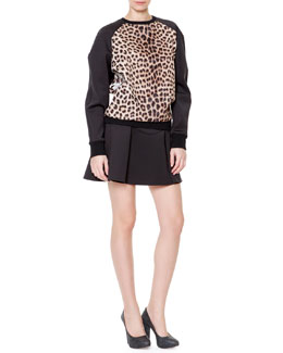 Just Cavalli Leopard-Print Raglan Sweatshirt and Flared Scuba Skirt