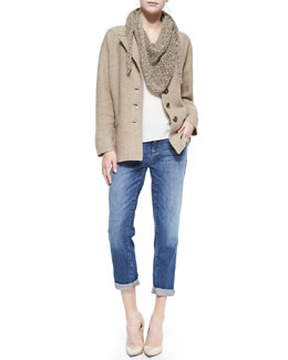 Eileen Fisher Merino One-Button Jacket, Sleeveless Long Silk Top, Fuzzy Fine Open Twist Scarf & Stretch Boyfriend Jeans