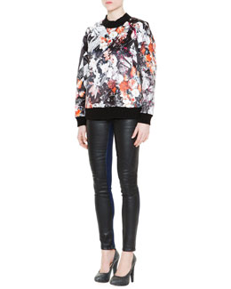 Just Cavalli Floral-Print Sweatshirt & Waxed-Front Denim Jeans