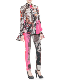 Just Cavalli Long-Sleeve Floral-Print Tie-Cuff Blouse & Spray-Paint Printed Slim Jeans