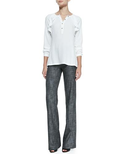 Nanette Lepore Fairytale Ruffled Long-Sleeve Top & Wide-Leg Patterned Suit Pants