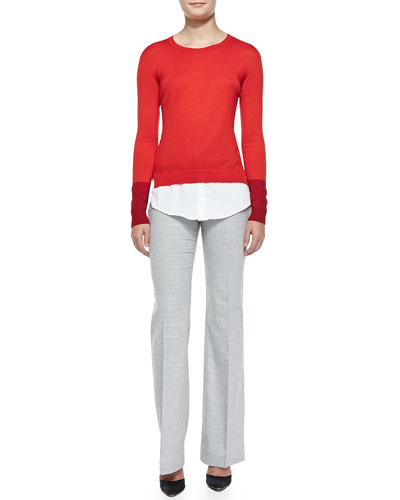 Altuzarra Wool Layered-Tail Crewneck Sweater & Slim Lightweight Wool Pants