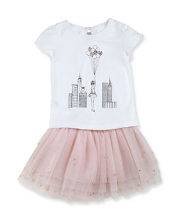 Milly Minis Girls' Flutter-Sleeve Graphic Tee & Crystal-Embellished Tutu