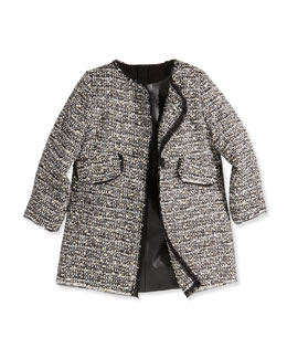 Milly Minis Girls' Metallic Tweed A-Line Coat & Faux-Leather Paneled Dress