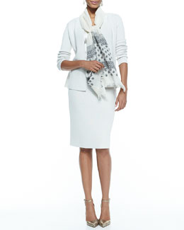 Eileen Fisher Silk-Cotton Peplum Jacket, Skirt, Charmeuse V-Neck Tank & Hand-Loomed Jamdani Scarf