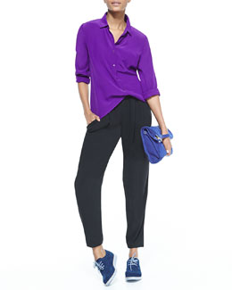 Eileen Fisher Silk Crepe de Chine Blouse & Slouchy Silk Ankle Pants