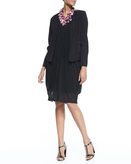 Eileen Fisher Angled-Front Leather-Shoulder Jacket & Silk Jersey Bubble Dress