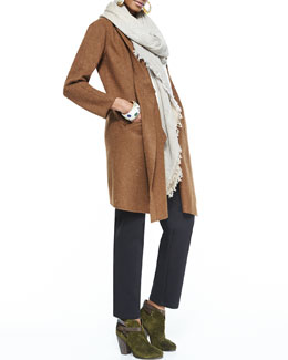 Eileen Fisher Cascading Leather-Trim Alpaca Jacket,  Long Silk Top, Heavyweight Rayon Slim Pants & Sparkle Striped Infinity Scarf