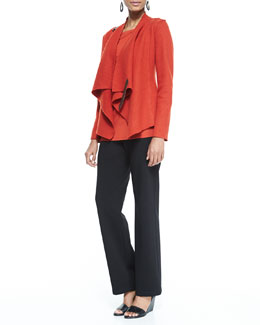 Eileen Fisher Bias-Twisted Wool Drape Jacket, Cozy Long Slim Jersey Top & Straight-Leg Ponte Pants