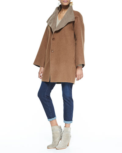 Eileen Fisher Double-Face Alpaca Cocoon-Shape Coat, V-Neck Cashmere Wedge Top & Slim Stretch Ankle Jeans