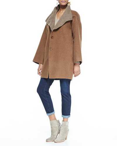 Eileen Fisher Double-Face Alpaca Cocoon-Shape Coat, V-Neck Cashmere Wedge Top & Slim Stretch Ankle Jeans, Women's