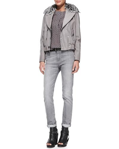 Brunello Cucinelli Reversible Leather Bomber Jacket with Fur Collar, Foulard-Print Henley Blouse & Slim Straight-Leg Jeans