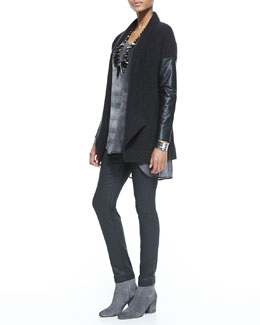 Eileen Fisher Ribbed Cardigan with Leather Sleeves, Sleeveless High-Low Printed Silk Tunic & Waxed Stretch Skinny Jeans
