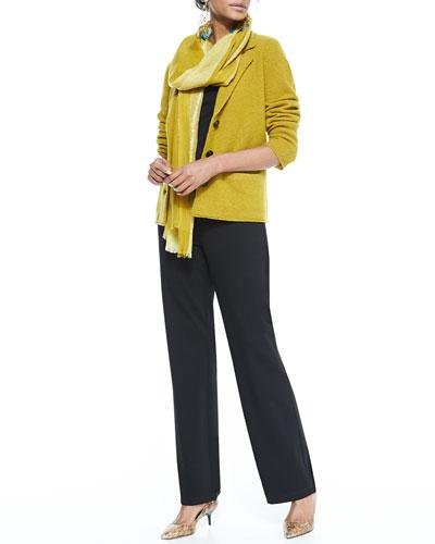 Eileen Fisher Notch-Collar Lambswool Jacket, Cap-Sleeve Tee, Straight-Leg Ponte Pants & Metallic-Border Striped Scarf, Women's