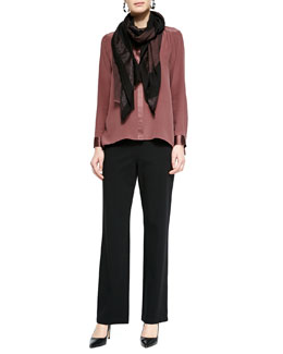 Eileen Fisher Silk Crepe de Chine Long Shirt, Straight-Leg Ponte Pants & Wave Print Twisted Tassel Scarf
