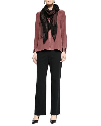 Eileen Fisher Silk Crepe de Chine Long Shirt, Straight-Leg Ponte Pants & Wave Print Twisted Tassel Scarf
